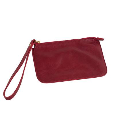 Handmade Cherry Leather Wristlet from Brazil