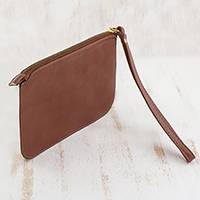 Leather wristlet, 'Well Spent in Chestnut' - Handmade Brazilian Leather Wristlet in Chestnut Brown