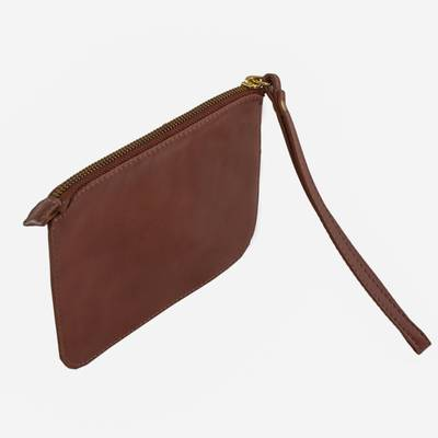 Handmade Brazilian Leather Wristlet in Chestnut Brown