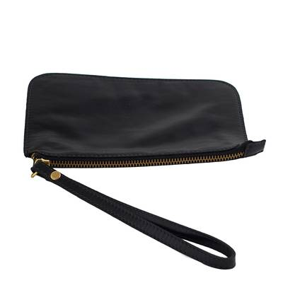 Handmade Black Leather Wristlet from Brazil