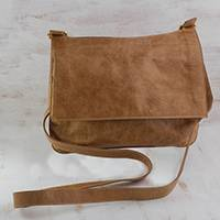 Leather sling bag, 'Rio Adventure in Spice' - Handcrafted Brown Leather Sling Bag from Brazil