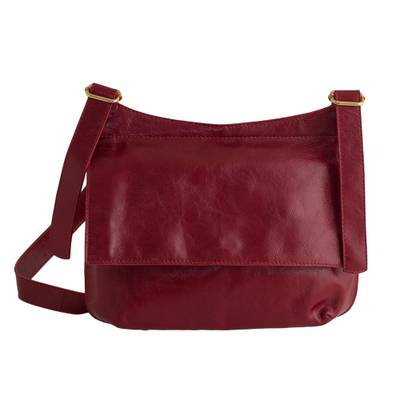 Handcrafted Red Leather Messenger Bag from Brazil
