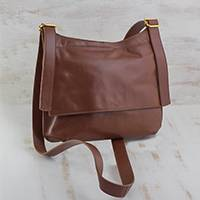 Leather sling bag, 'Rio Adventure in Chestnut' - Handcrafted Brown Leather Sling Bag from Brazil