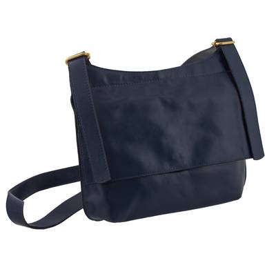 Handcrafted Brazilian Leather Sling Bag in Navy Blue