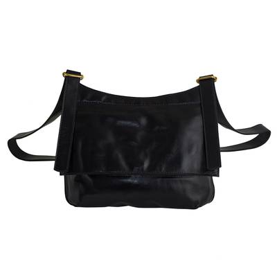 Handcrafted Black Leather Messenger Bag from Brazil