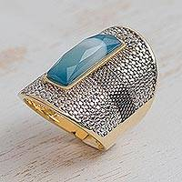 Gold and rhodium plated agate cocktail ring, 'Pebbled Sophistication' - Gold and Rhodium Plated Agate Cocktail Ring from Brazil