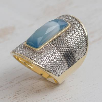 Gold and Rhodium Plated Agate Cocktail Ring from Brazil