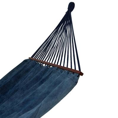Cotton Denim Hammock in Blue from Brazil (Double)