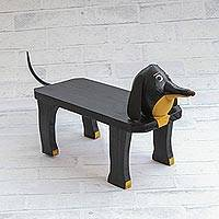 Wood decorative bench, 'Dog Rest' - Handcrafted Wood Dog Shaped Decorative Bench from Brazil
