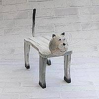 Wood decorative bench, 'Cat Rest' - Handcrafted Wood Cat Shaped Decorative Bench from Brazil