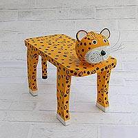 Wood decorative bench, 'Jaguar Rest' - Handcrafted Wood Jaguar Shaped Decorative Bench from Brazil