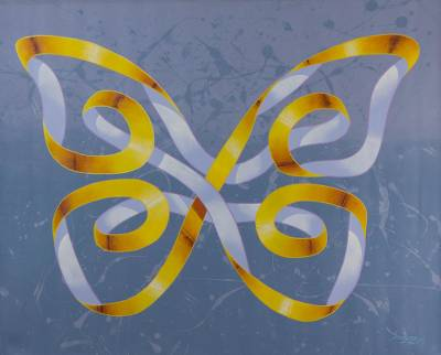 'Yellow Butterfly' (2017) - Signed Surrealist Butterfly Painting from Brazil