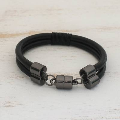 Leather wristband bracelet, 'Graphite Elegance' - Leather Wristband Bracelet Crafted in Brazil