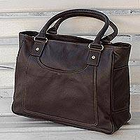 Leather shoulder bag, 'Sweet Success' - Handmade Chocolate Brown Leather Shoulder Bag from Brazil