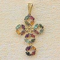 Gold plated cross pendant, 'Glory on High' - Colorful Cubic Zirconia and Gold Plated Brass Cross Pendant