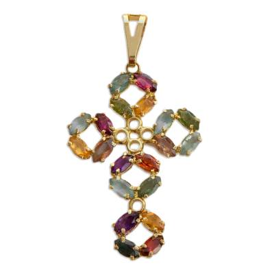 Colorful Cubic Zirconia and Gold Plated Brass Cross Pendant
