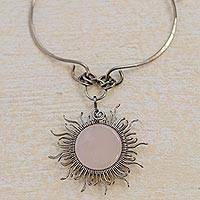 Rose quartz pendant necklace, 'Sun Rays' - Handcrafted Rose Quartz Sun Pendant Stainless Steel Necklace