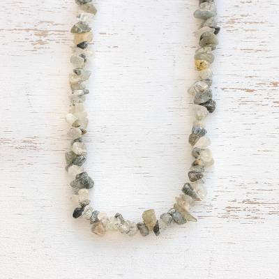 Quartz beaded necklace, 'Glistening Forest' - Long Quartz Beaded Necklace Crafted in Brazil