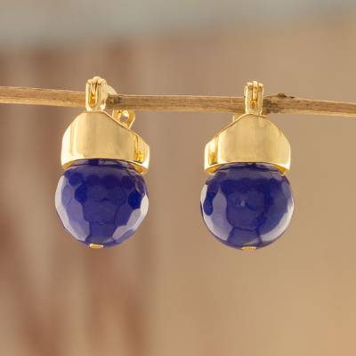 Gold plated quartz drop earrings, Deep Blue Acorns