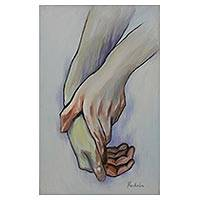 'Hands' - Signed Painting of Two Hands Caressing from Brazil