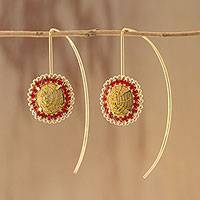 Gold plated golden grass drop earrings, 'Stellar Red' - Gold Plated Golden Grass Earrings with Red Rhinestones