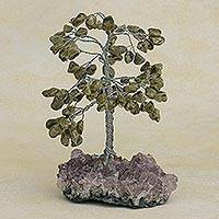 Jade gemstone tree, 'Jade Foliage' - Jade and Amethyst Gemstone Tree Handcrafted in Brazil