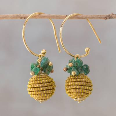 Gold accented quartz dangle earrings, 'Magnificent Gleam' - 18k Gold Plated Quartz and Golden Grass Earrings from Brazil