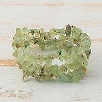 Prehnite beaded stretch bracelets, 'Sage Trio' (set of 3) - Prehnite Chip Beaded Stretch Bracelets (Set of 3)