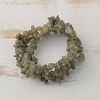 Labradorite beaded stretch bracelets, 'Earthy Trio' (set of 3) - Labradorite Chip Beaded Stretch Bracelets (Set of 3)
