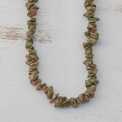 Unakite long beaded necklace, 'Rosy Sage' - Unakite Beaded Strand Long Necklace from Brazil