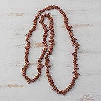 Sunstone long beaded necklace, 'Sun's Sparkle' - Sunstone Beaded Strand Long Necklace from Brazil