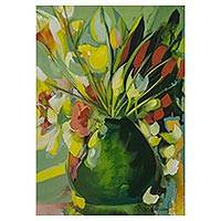 'Green Spring' - Impressionist Still Life Painting of Flowers from Brazil