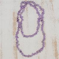 Amethyst beaded necklace, 'Lilac and Lavender' - Amethyst Beaded Necklace from Brazil