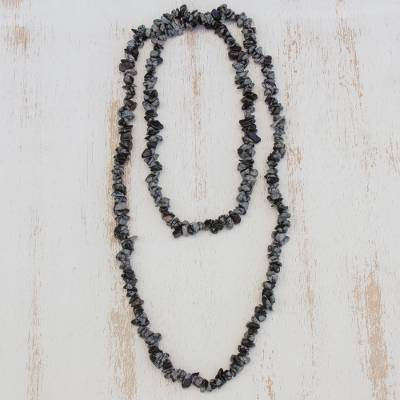 Obsidian beaded necklace, 'Stormy Beauty' - Obsidian Beaded Necklace Crafted in Brazil