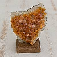 Citrine gemstone sculpture, 'Earthen Prosperity' - Citrine Gemstone Sculpture from Brazil