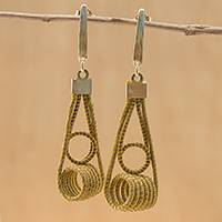 Gold plated golden grass dangle earrings, 'Coiled Gleam' - 18k Gold Plated Golden Grass Dangle Earrings from Guatemala