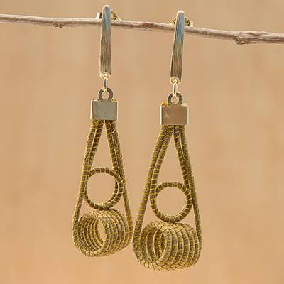 Gold accented golden grass dangle earrings, 'Coiled Gleam' - 18k Gold Plated Golden Grass Dangle Earrings from Guatemala