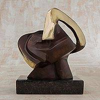 Bronze sculpture, 'People' - Abstract Signed Bronze Sculpture from Brazil