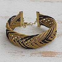 Gold plated golden grass wristband bracelet, 'Gold and Black' - Gold Plated Golden Grass Wristband Bracelet in Black