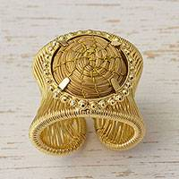 Golden grass wrap ring, 'Sun Kissed Circles' - Handcrafted Golden Grass and Gold Plated Brass Wrap Ring