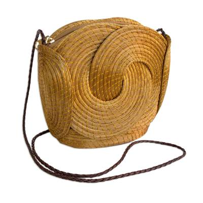 Handmade Golden Grass Sling Handbag from Brazil