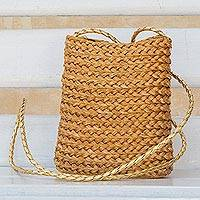 Golden grass shoulder bag, 'Braided Sun' - Braided Golden Grass Mini Shoulder Bag Handcrafted in Brazil