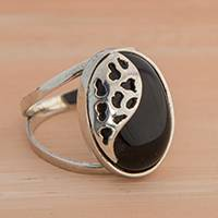 Agate cocktail ring, 'Dark Spots' - Black Agate Cocktail Ring from Brazil