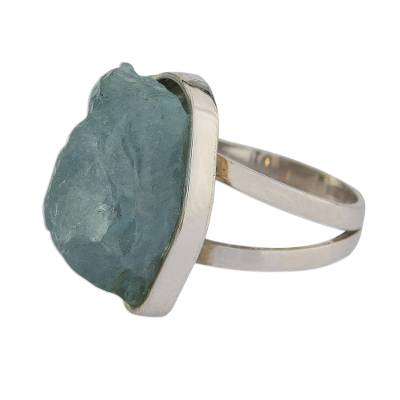Freeform Aquamarine Cocktail Ring from Brazil