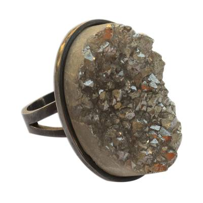 Modern Drusy Agate Cocktail Ring from Brazil