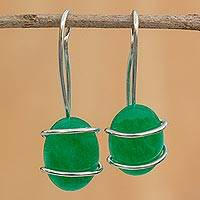 Jade drop earrings, 'Bright Forest' - Natural Green Jade Drop Earrings from Brazil
