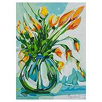'Vase of Flowers' - Signed Floral Still Life Painting in Green from Brazil