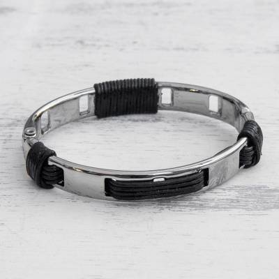 Leather and stainless steel bangle bracelet, Dark Space