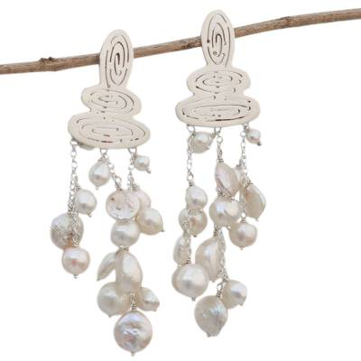 Modern Cultured Pearl Waterfall Earrings from Brazil