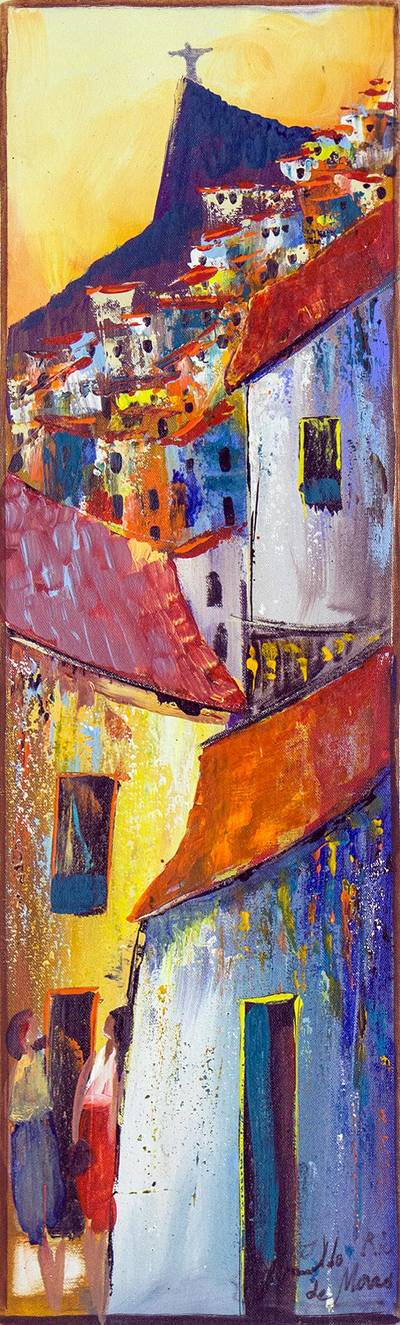 'Colorful Community at Sunset' - Impressionist Painting of a Brazilian Favela at Sunset